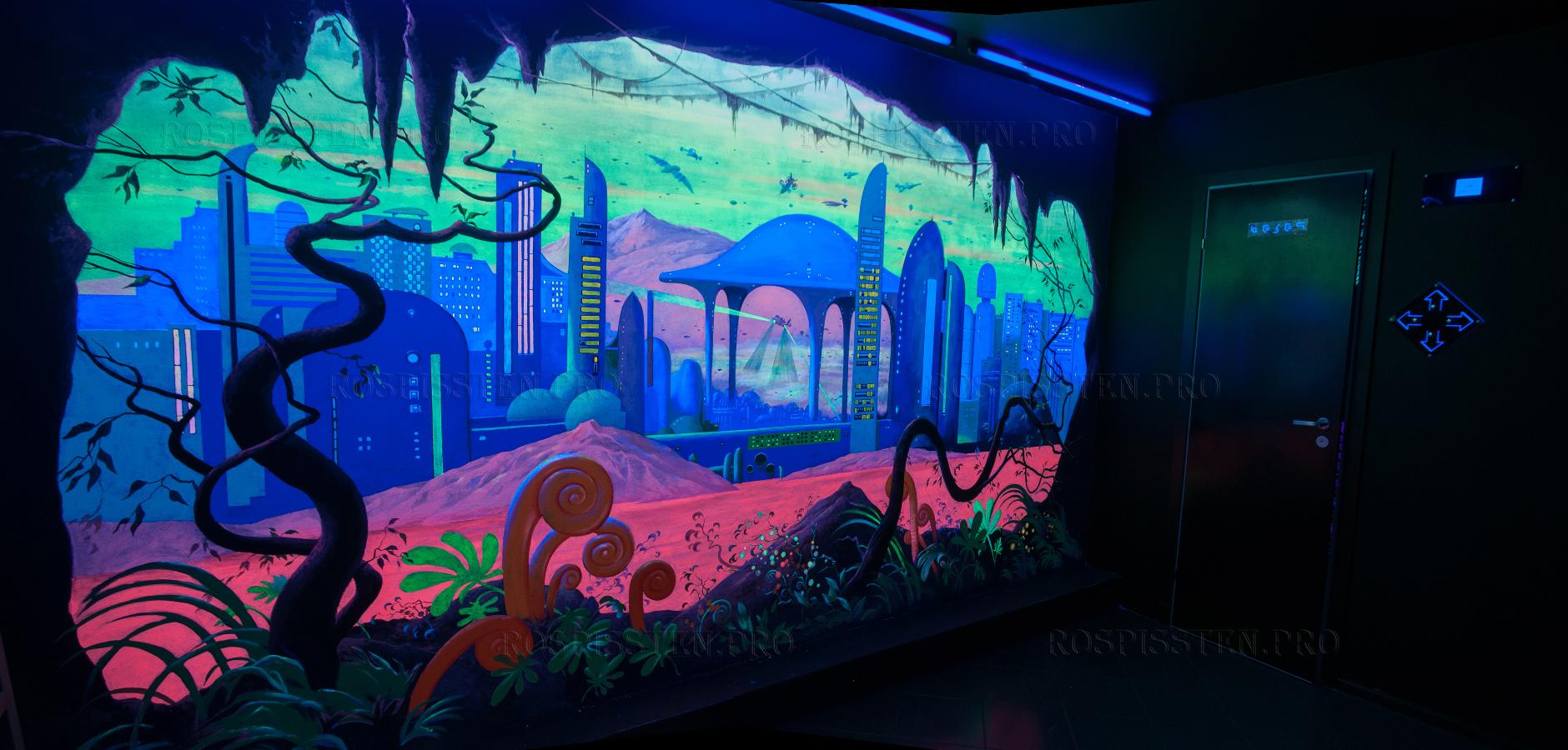 роспись светящимися красками в интерьере