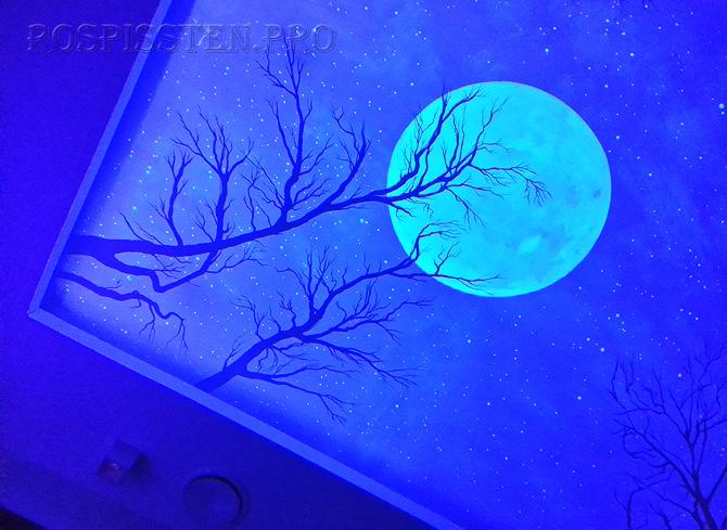 потолок звездное небо с луной - фрагмент