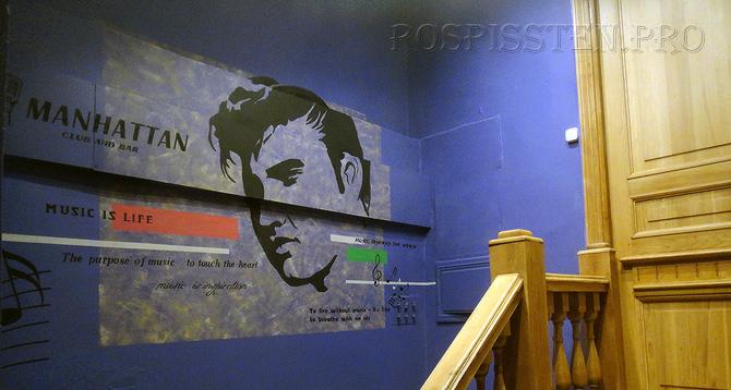 графика на стене музыкального клуба
