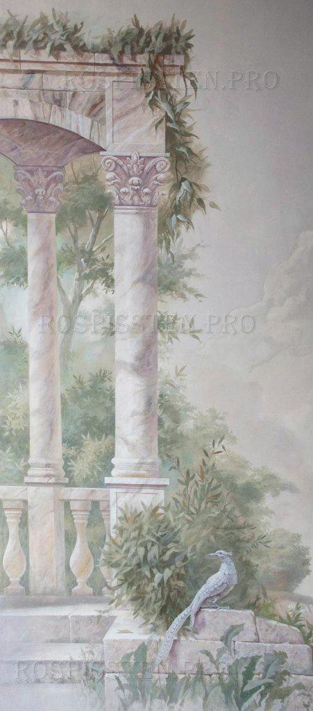 роспись стен - колонны, листья