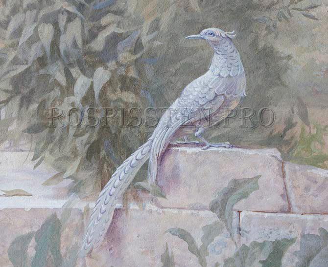 деталь росписи стен- фазан