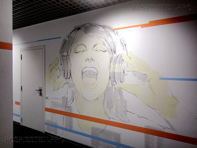 рисунки на стенах офиса