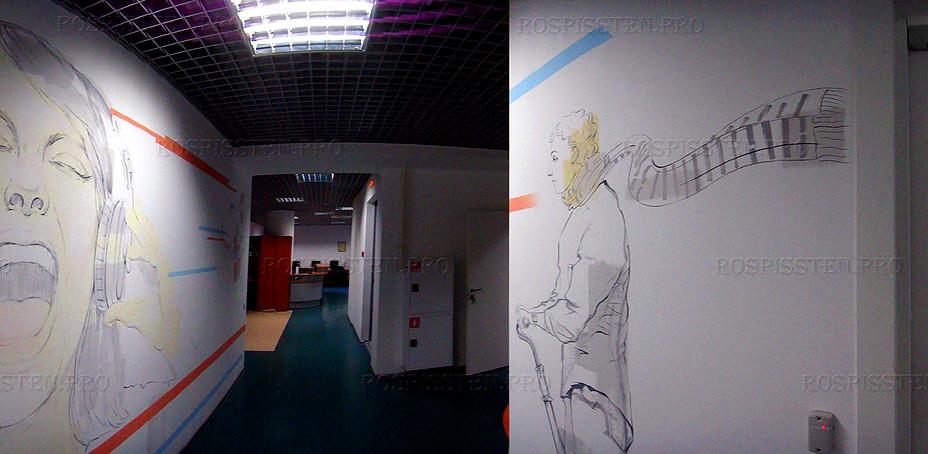 рисунки на стенах креативного офиса