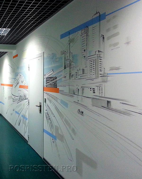 рисунки на стенах офиса интерьерным маркером