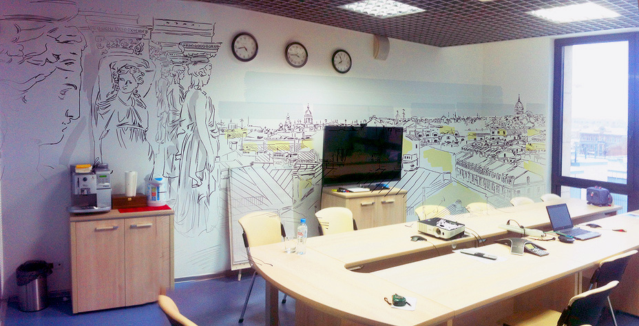 роспись стен офиса : переговорная