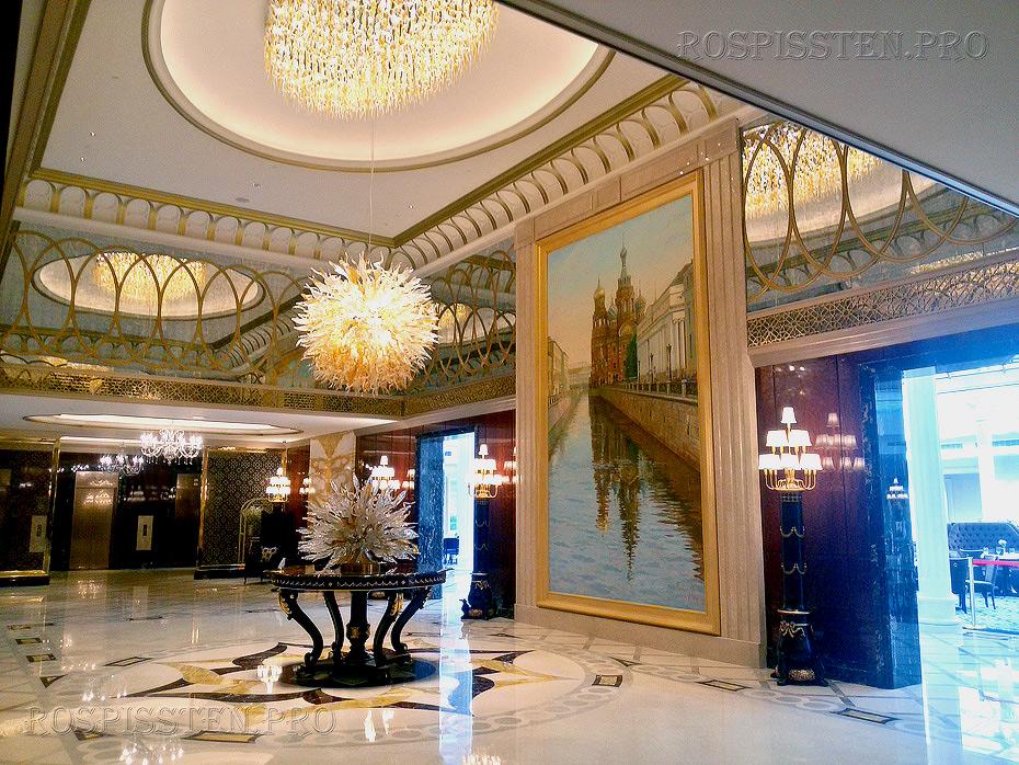"""оформление отеля Лотте , Санкт-Петербург, большая картина с видом """"Спаса-на-крови"""", Шелыгов, Палкин"""
