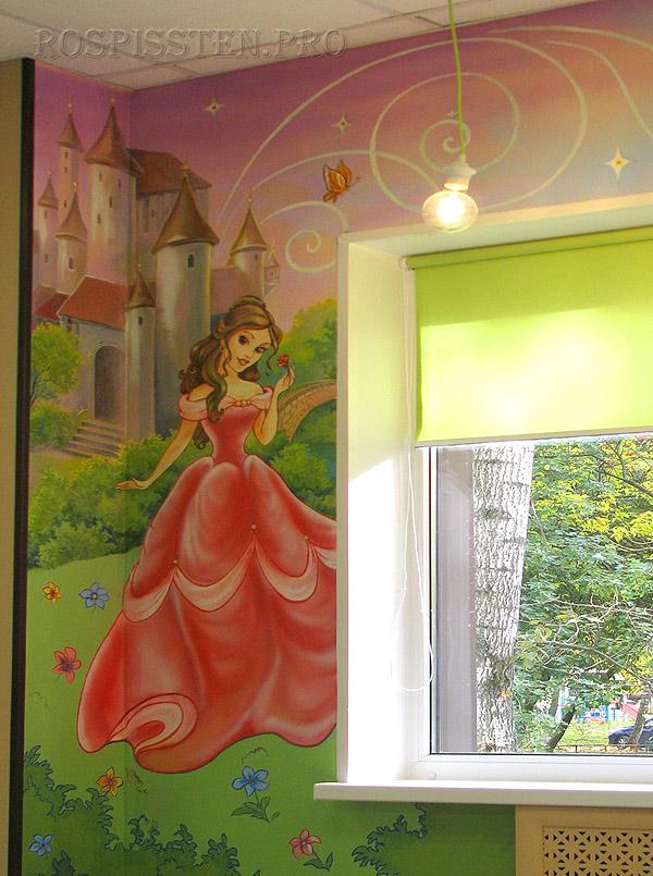 роспись детской комнаты для девочки принцесса замок