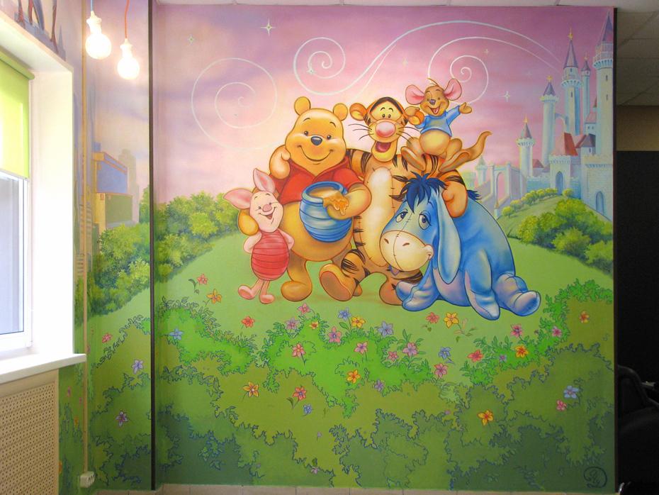 рисунки героев мульфильмов на стенах для мальчика и девочки