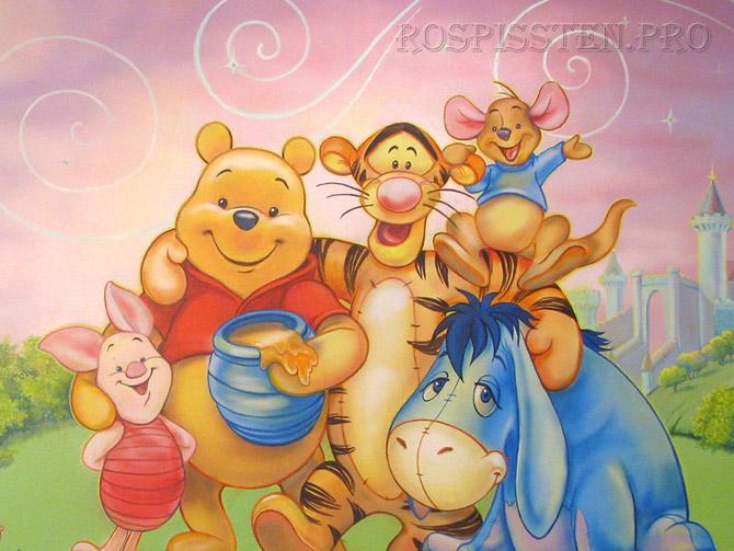 роспись стен детской комнаты мультфильмы Винни Пух Тигра