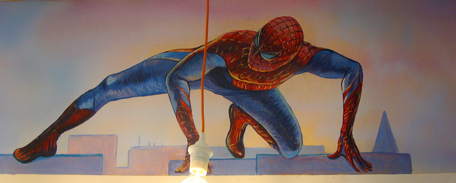 роспись стен детской человек паук , рисунки мультфильмов на стенах