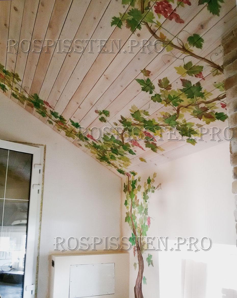 роспись красками  по балкам деревянного потолка
