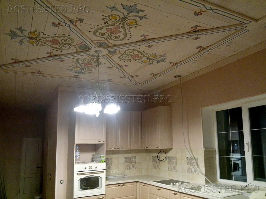 роспись потолка в загородном доме - орнаменты в интерьере