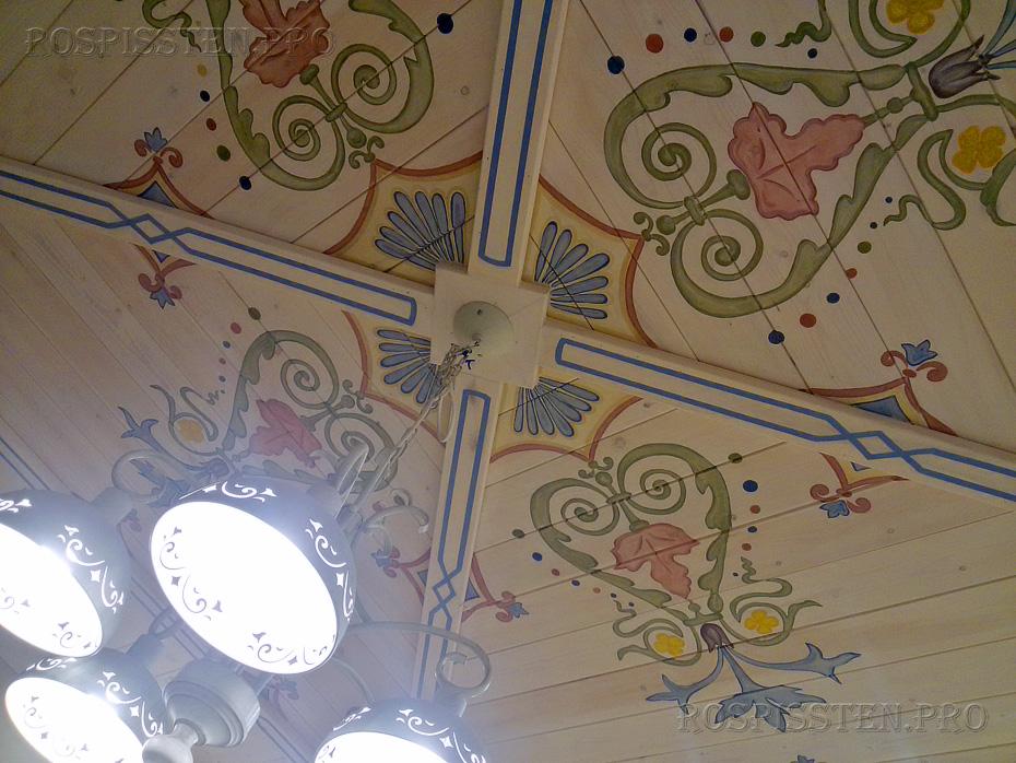 роспись потолка- орнаментальный стиль в интерьере