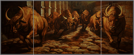 картина-на-холсте-бегущие-быки