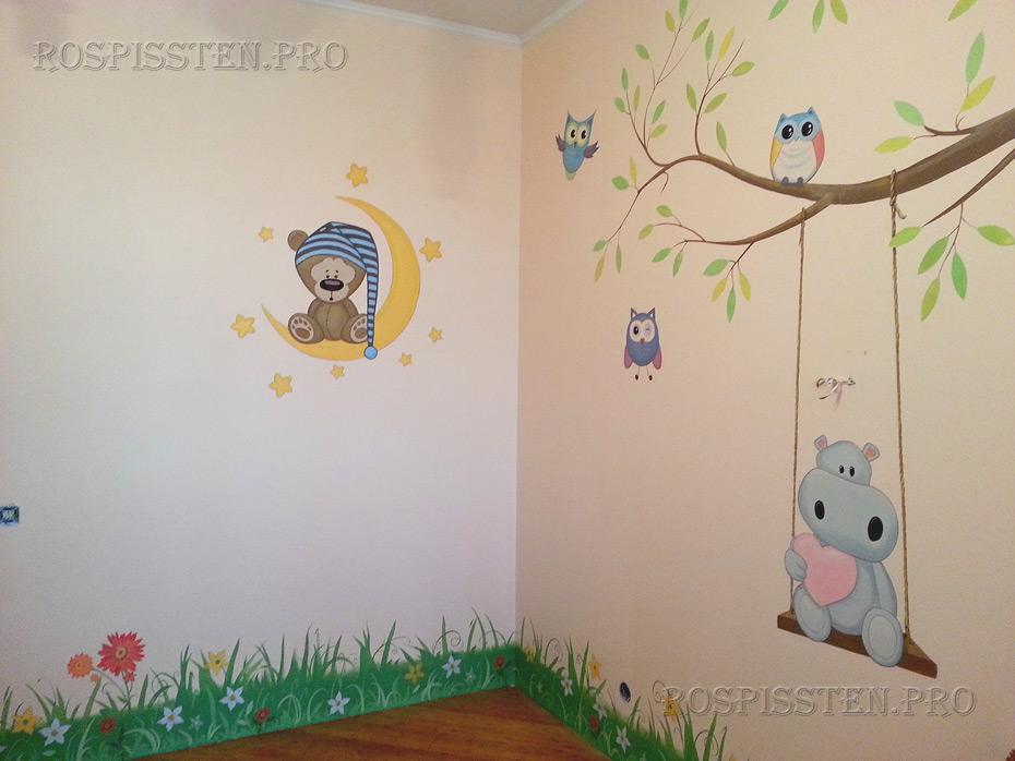 рисунки-на-стенах-детской-комнаты-роспись-стен