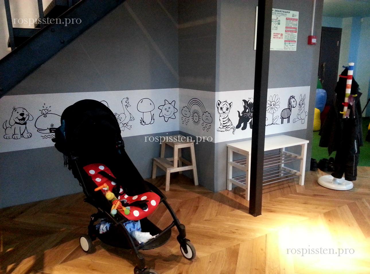 роспись-стен-декоративные-животные-детская